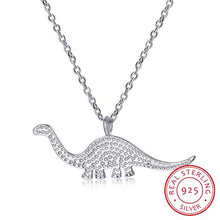 Sterling Silver Rhinestone Dinosaur Pendant Necklace