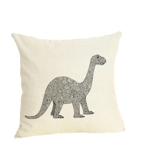 Brontosaurus Spots Dinosaur Linen Throw Pillow Cover