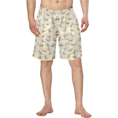 Jurassic Blossom Elastic Waist Swim Trunks Exclusive Dinostaur Design
