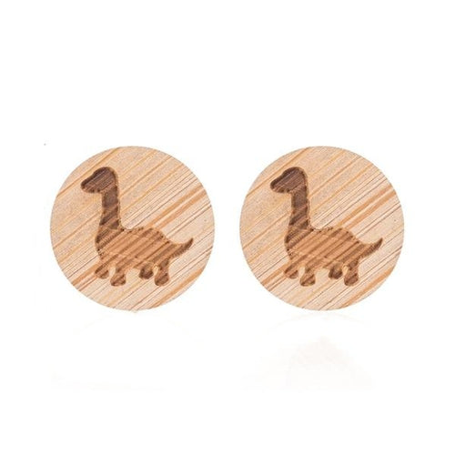 Handmade Dinosaur Wooden Stud Earrings *FREE ITEM