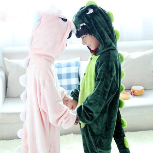 Children's Pink Or Green Dinosaur Onesie Pajamas