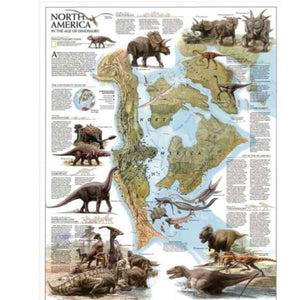 Retro North America Dinosaur Map Wall Art
