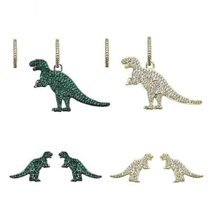Highest Grade Zircon Asymmetric Dinosaur Earrings 3 styles