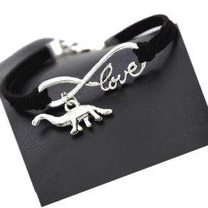 Handmade Leather Infinity  Apatosaurus Dinosaur Charm Leather  Bracelet