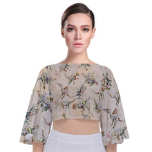 Jurassic Blossom Tieback Butterfly Sleeve Chiffon Crop Top  Exclusive Dinostaur Design