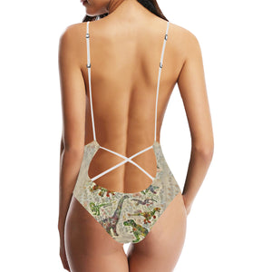Jurassic Bloom Plunge Women's Lace Up Backless One-Piece Swimsuit