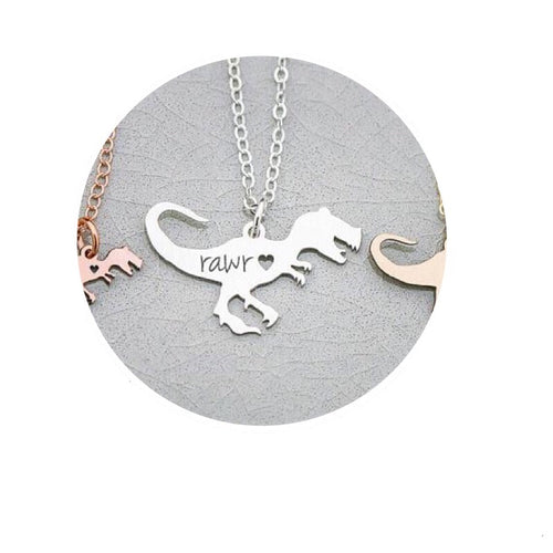 I Heart Rawr Tyrannosaurus Pendant Necklace *Can Be Custom Engraved*