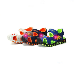 Light Up LED Triceratops Eye Genuine Leather Sneaker Sandal Shoes
