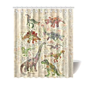 TheDinostaur.com Exclusive Jurassic Garden Sit With Us Shower Curtain