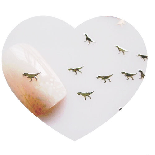 100pcs Silver Cute Dinosaur Metal Sticker Nail Art