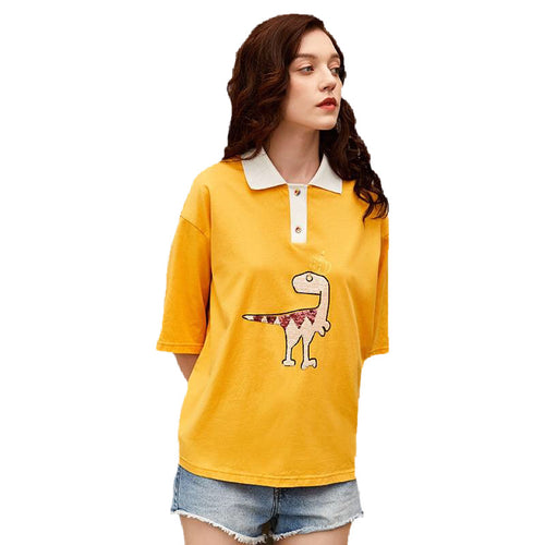 Dinosaur Sequin Turn-down Collar Polo Shirt