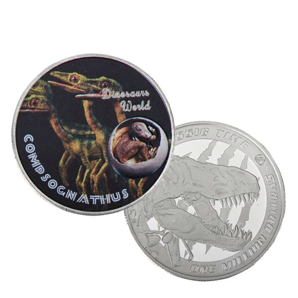 Compsognathus Dinosaur 999.9 Silver Plated Coin Collectible