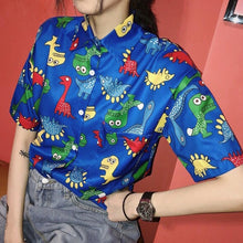 Harajuku Colorful Blue Dinosaur Button Down  Blouse