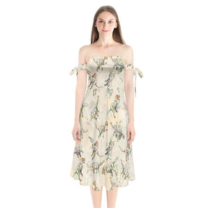 Jurassic Blossom  Shoulder Tie Bardot Midi Dress