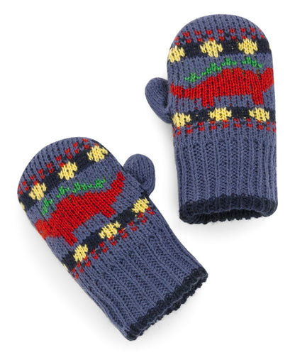 Wool Blend Indigo & Red Fair Isle Dinosaur Mittens