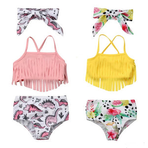 0-24M Infant Baby Girl Swimwear Suits Tassels Strap Crop Tops+Shorts+Headwear Baby Girl Dinosaur Floral Print 3Pcs Bikini