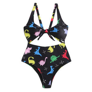Black One Piece Swimsuit  Dinosaur Print Swimwear  Hollow-out High Cut Monokini
