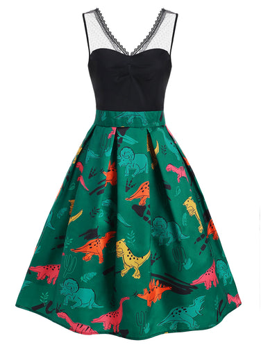 Dinosaur Illusion Lace Panel 1950's Vintage Style Party Dress Women Party Dress 2 Color Options & Plus Sizes Available