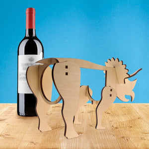 Wooden  Triceratops Dinosaur Wine Stand  Wine Bottle Holder