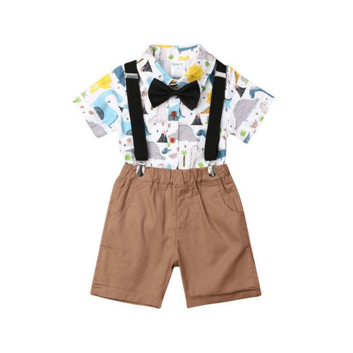 2 PCS Toddler Kid Baby  Dinosaur Print Gentleman Overall Set