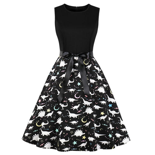 Dinosaur Star Print Retro 1950's Style Vintage Style Swing Dress Plus Sizes Available