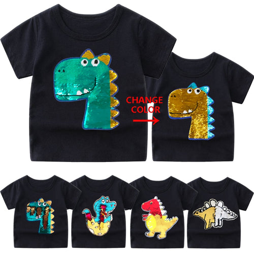 Color-Flip Sequin Dinosaur Tee