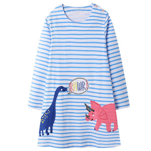 Cotton Dinosaur Applique Rawr Striped A-Line Dress