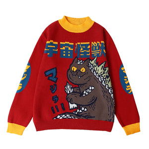 Harajuku Godzilla Fashion Knitted Women Sweater
