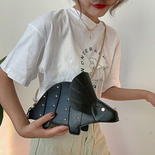 Vegan Triceratops Hide Leather  Cross-body Studed Purse Handbag
