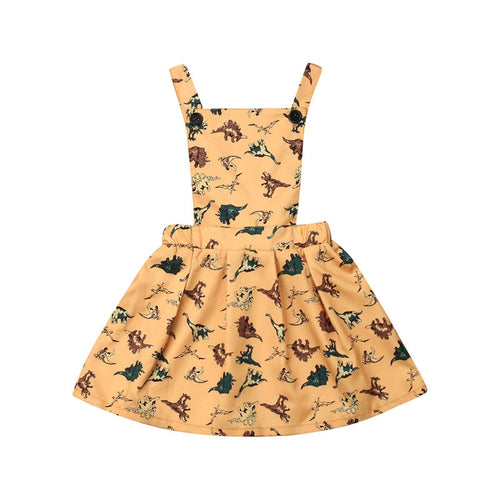 Cotton Dinosaur Print Jumper Overalls Dress
