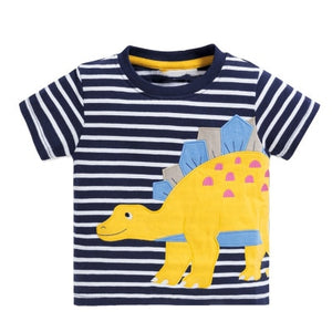 Stegosaurus Embroidered Applique Dinosaur Kids T-Shirt