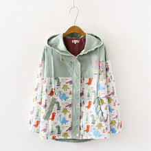 Dinosaur Hooded Patchwork Windbreaker coat