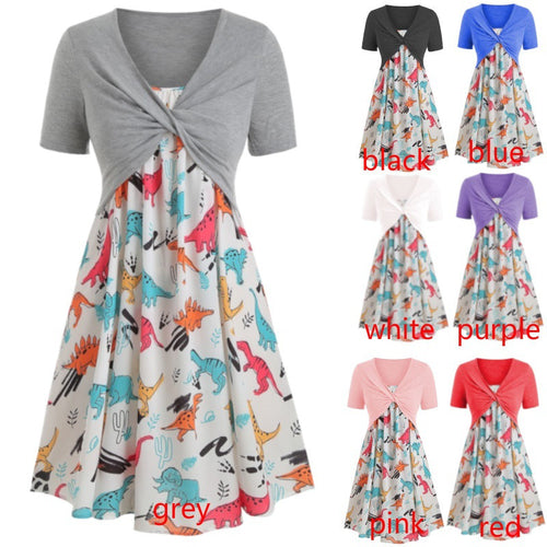 V-neck Cable Knit Short Sleeve Dinosaur Floral Printed Dress Two-Piece Set Multiple Color Options