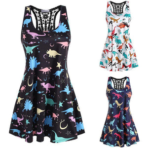 Sleeveless Macrame Dinosaur Print O-Neck Lace Tank Short Dress Mini Dress 3 Color Options