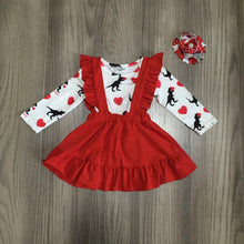 "Cotton Ruffle "" Hearts On Your Sleeve"" Valentines Dress With Matching Bow"