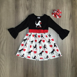 T-Rex Has A Hold On Your Heart Valentines Dress And Bow