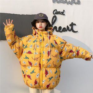 Loose Warm Coat  Street-wear Hooded Dinosaur Parka