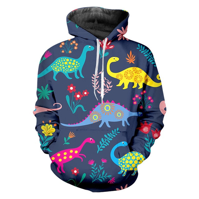 Psychedelicsaur Colorful Dinosaur Hoodie  Streetwear Sweatshirt Sizes Up To 6XL
