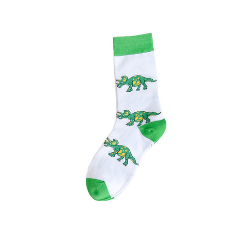 Cotton Green Triceratops Dinosaur Socks