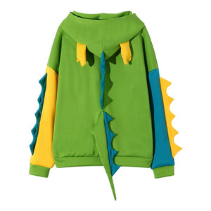 Loose Print Long Sleeve Splice Dinosaur Sweatshirt  Hoodie