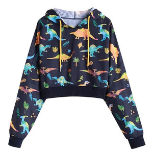 Dinosaur Crop-Top Drawstring Lightweight Hoodie Long Sleeve Shirt 2 Colors