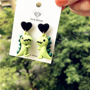 Kawai Dinosaur drop Love Heart Earrings