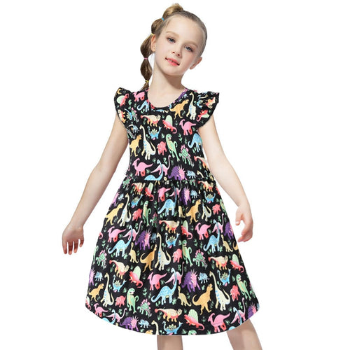 Black And Rainbow Dinosaur Print Ruffle Dress