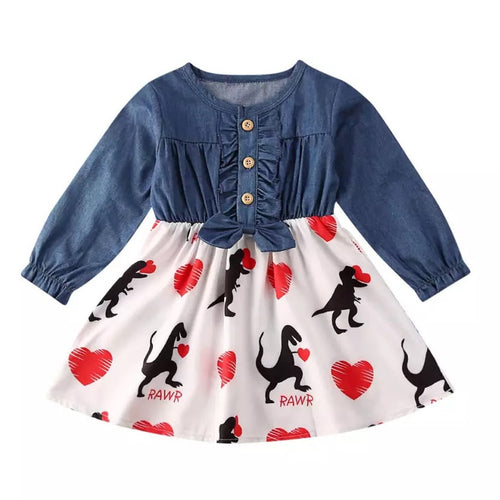 Dinosaur Stole Your Heart Denim Valentine Dress