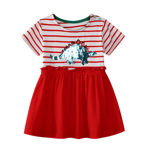 Striped Red Dinosaur Sequin Cotton Dress