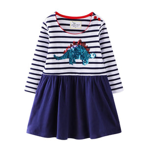Long Sleeve Cotton Striped Sequin Dinosaur Stegosaurus Dress