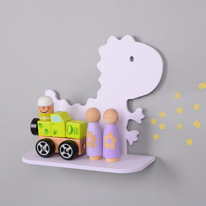 White Cartoon Dinosaur Wooden Shelf Wood Decorative Shelf