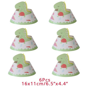 6 Party Hats Dinosaur Party Disposable Kids Birthday Party Supplies Favors Roar Dino Party