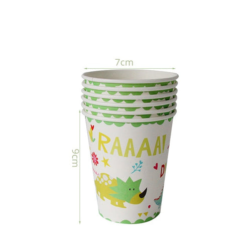 6 Cups Dinosaur Party Disposable Tableware Kids Birthday Party Supplies Favors Roar Dino Party Decor