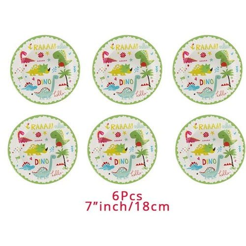 6 Plates Dinosaur Party Disposable Tableware Kids Birthday Party Supplies Roar Dino Party Decor